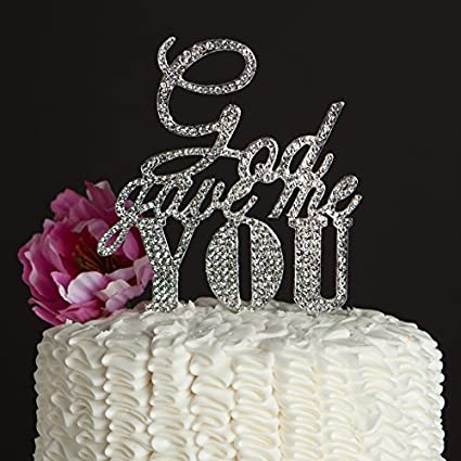 Amazon ella celebration god gave me you wedding cake topper ella celebration god gave me you wedding cake topper silver religious christian party decoration junglespirit Image collections