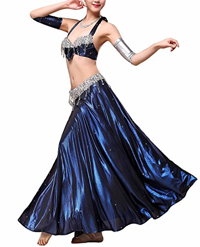 MFrannie Womens Egyptian Beaded 3-Piece Professional Belly Dance Costume Set Blue (Egyptian Custume)