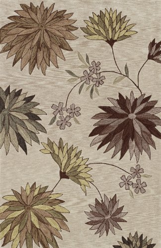 (Dalyn Studio Ivory, Taupe, Celery, Mocha Brown Star Burst Floral Motif 5 by 7-Feet 9-Inch Area Rug)