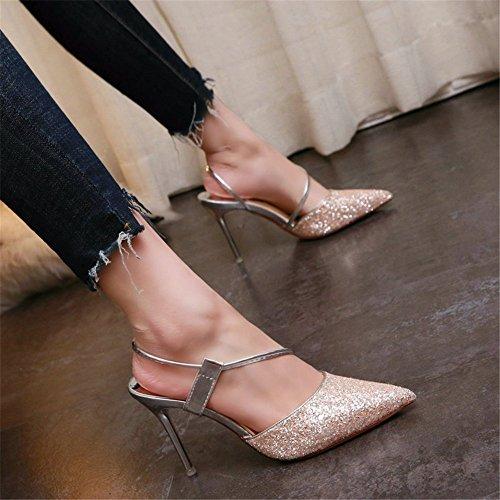 YMFIE Las Lentejuelas Europeas señalaron Boca Baja Moda Sexy Elegante Temperamento Tacones Altos señoras Solo Zapatos Zapatos de Trabajo A