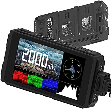 Fotga C50 Ultra Bright 2000 nit On-Camera Touch Screen Field Monitor Daylight Visible 3D LUT,Wavaform Vector,4K HDMI Input,Dual NP-F Battery Mount,IPS,for DSLR Cinema Camera