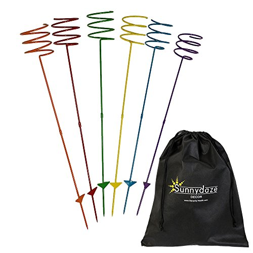 Sunnydaze Outdoor Yard Drink Holder Stakes, Heavy Duty, Set of 6, Multi Colored ()