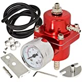 AJP Distributors Universal Jdm Anodized 0 to 140 PSI Fuel Pressure Regulator with Gauge (Red)