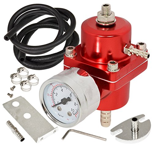 AJP Distributors Universal Jdm Anodized 0 to 140 PSI Fuel Pressure Regulator with Gauge (Red)