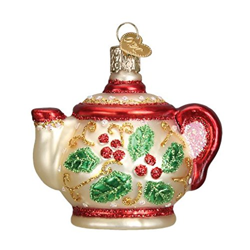 Old World Christmas Holly Teapot Glass Blown Ornament