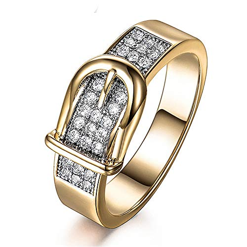 Fashion Belt Shaped Diamond Insert Gold Finger Ring Crystal Zirconia Jewelry by Quelife