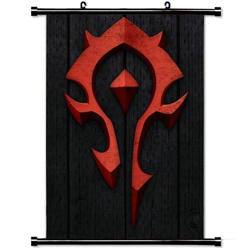 Wall Scroll Poster with World Of Warcraft Horde Symbol Red H