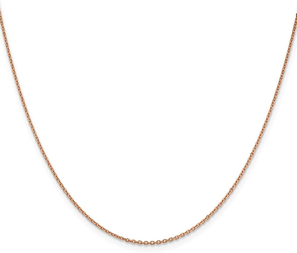 Mia Diamonds 14k Rose Gold 1.4mm Diamond-Cut Cable Chain Necklace
