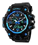 Mens Military Sport Digital Wrist Watch Kids Large Dual Dial Time EL Backlight Resin Band Watch Blue