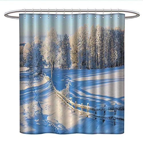 Anshesix Farm House Decorkids Shower curtainWinter Snow Valley with Oak Borders Pines Frozen Pastoral High Cold LandsRound Shower Curtain rodWhite Blue ()