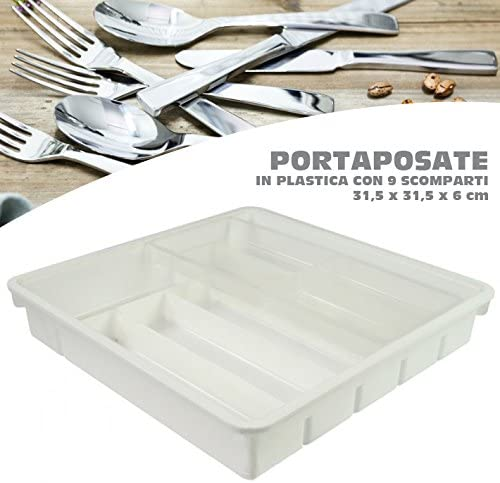 Bakaji Organizador Porta Cubiertos 9 compartimentos para cajón ...