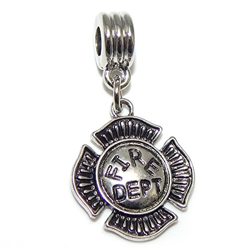 GemStorm Silver Plated Dangling Fire Department Badge For European Snake Chain Bracelets
