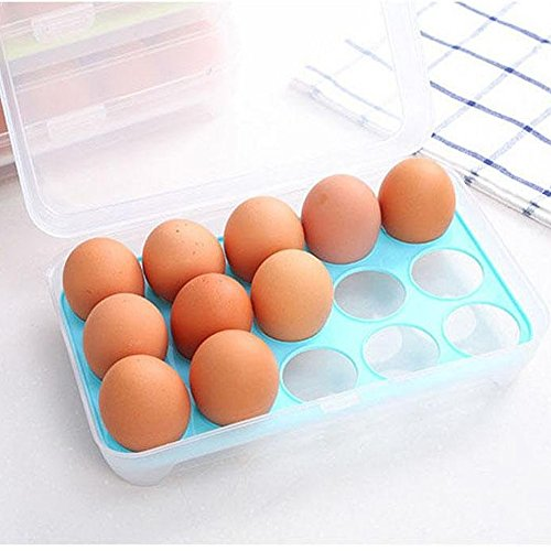 IUME Kitchen Egg Holder Storage Box for Refrigerator 15 Eggs Tray Holder with Lid Portable Shatter-proof Covered Egg Container/Box/Case/Carrier/Crate/Dispenser for Camping - Blue