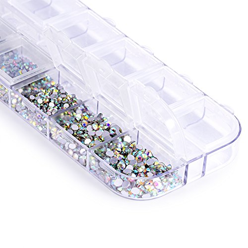 Swarovski Crystal Stone (Zealer 1728pcs Crystals AB Nail Art Rhinestones Round Beads Top Grade Flatback Glass Charms Gems Stones for Nails Decoration Crafts Eye Makeup Clothes Shoes 288pcs Each (Mix SS3 4 5 6 8 10))