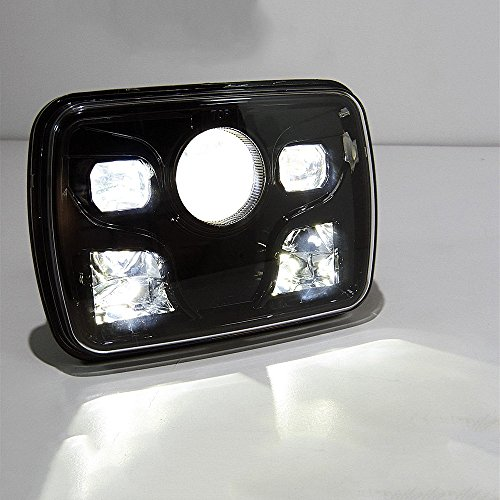 "Price comparison product image 2Pcs Cree 7x6"" 60W LED Projector Headlight Sealed Beam Black Headlight Lamp (Black)"