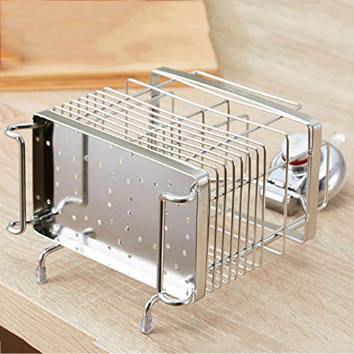 CFXZM Kitchen Shelf, Knife Fork Chopsticks Double Tube Drain Rack Cage Storage Box 304 Stainless Steel Suction Cup Wall Basket by CFXZM (Image #3)