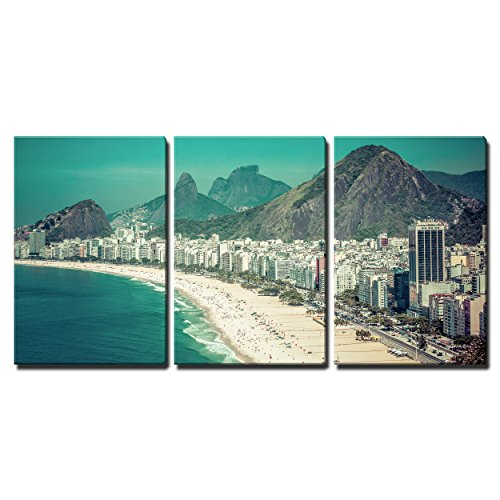 "Wall26 - 3 Piece Canvas Wall Art - Rio De Janeiro, Brazil - Copacabana Beach - Modern Home Decor Stretched and Framed Ready to Hang - 16""x24\""x3 Panels"