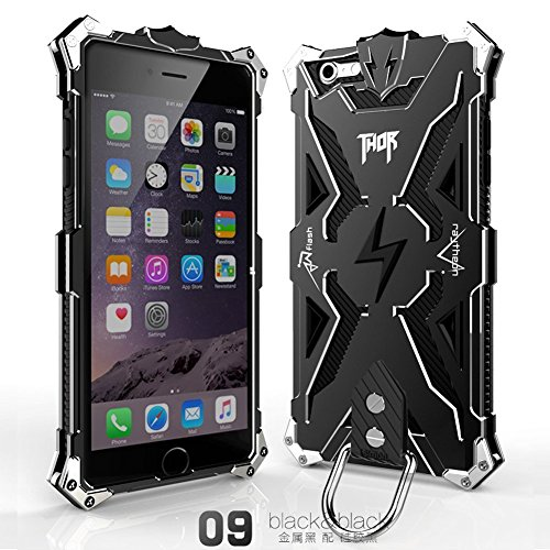 Iphone 6 Plus 6s Plus Case, Lwang Outdoor Sports Strong Protective Case for Iphone 6 Plus 6s Plus,[tempered Glass Screen Protector][silicone Case][aviation Aluminum Cover] (Thor Black/black) (Cover Thor)