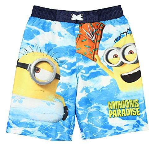 Despicable Me 3 Minions Paradise Boardshort Swim Trunk - Small (Kids Minion Suit)