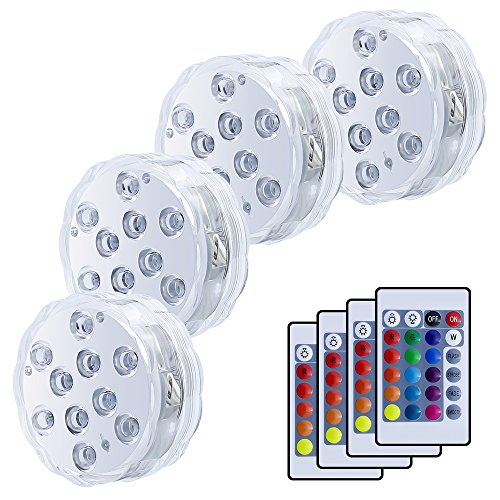 LUXJET Waterproof Submersible LED Lights Wedding Tea Light Remote Controlled, RGB Color Changing for Party Glass Vase Decor Halloween Christmas Home Decoration Accent Lighting, Set of 10 (4Deng) -