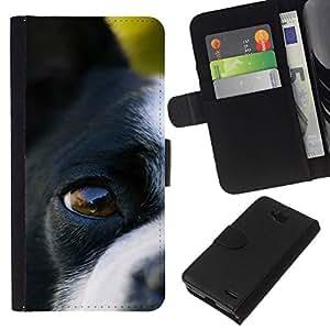 All Phone Most Case / Oferta Especial Cáscara Funda de cuero Monedero Cubierta de proteccion Caso / Wallet Case for LG OPTIMUS L90 // Boston Terrier Eye Dog Canine Nose