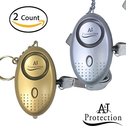 30-135 dB Premium Emergency Personal Alarms for Women, Elderly and Kids | Rip Cord Activation | Loud Self Defense Keychain Alarm with Flash Light (FREE Batteries Included) ()