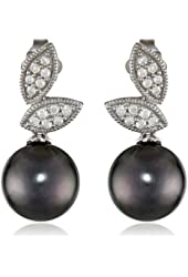 10k White Gold Tahitian Cultured Pearl and Diamond (0.14cttw, G-H Color, I2-I3 Clarity) Pin Earrings