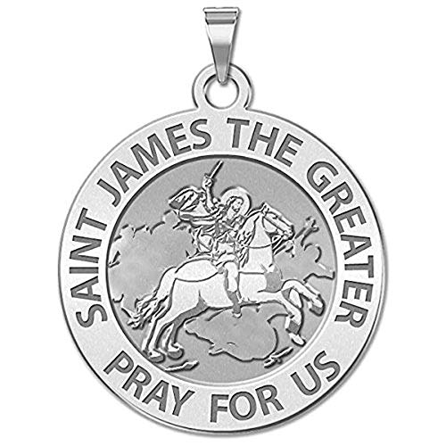 PicturesOnGold.com Saint James The Greater Religious Medal - 1 Inch Size of a Quarter -Solid 14K White Gold with ()