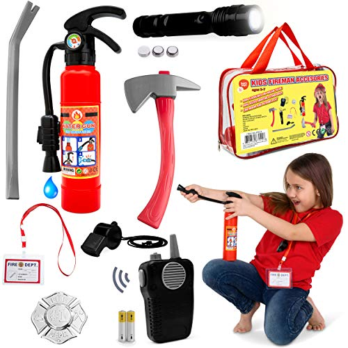Fireman Toys Role Play Kit Great for Fireman Costume or Pretend Play Includes Fire Extinguisher Real Working Flashlight and More]()