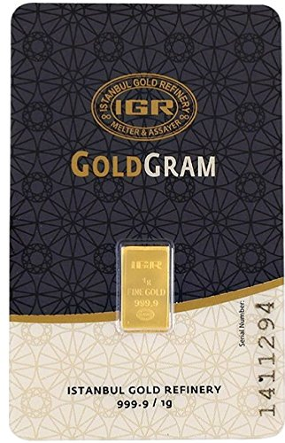 Istanbul Gold Refinery Goldgram 1 Gram 999.9 Pure Fine Gold in IAR Assay Card