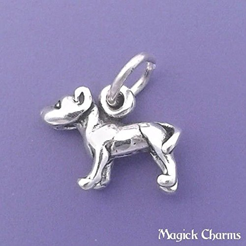 925 Sterling Silver Pit Bull Dog Charm 3-D Pitbull Miniature Small Jewelry Making Supply, Pendant, Charms, Bracelet, DIY Crafting by Wholesale Charms