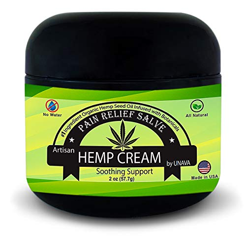 (UNAVA Soothing Pain Relief Hemp Cream - Relieves Inflammation, Joint, Muscle, Knee, Back & Nerve Pain - 0% Water, 100% Natural - Holistic Salve Organic Hemp - Rose, Tea Tree Essential Oils)