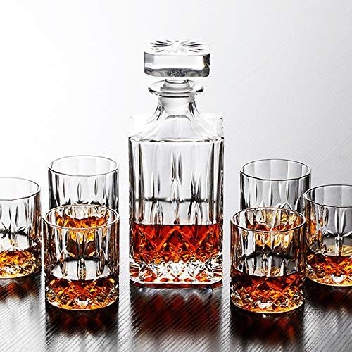 Crystal Whiskey Decanter & Whiskey Glasses Set Nines Sun Liquor Decanter Set with 6 Old Fashioned Italian Crafted Glasses 100% Lead Free Crystal Barware Gift Box
