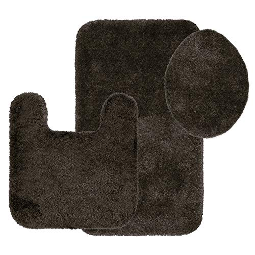 Maples Rugs Bathroom Rugs Colorsoft 3pc Non Slip Washable Bath Mats & Toilet Lid Cover Set [Made in USA] Soft & Quick Dry Chocolate Nib -