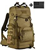 ArcEnCiel Outdoor Military Tactical Mountaineering Backpack with Patch – Rain Cover Included (Coyote Brown) Review
