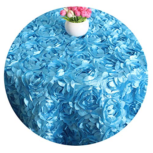 3D Rose Round Table Cloth Wedding Party Decor 3D Flowers Satin Tablecloths Cake Table Cover for Hotel Banquet Party 120/240cm,Royal Blue,Round Dia 120cm