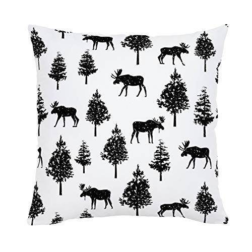 Carousel Designs Onyx Moose Throw Pillow 20-Inch Square Size - Organic 100% Cotton Throw Pillow Cover + Insert - Made in The USA