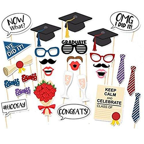 28Pcs Graduation Photo Booth Props, Graduation Party Masks Photo Props Kits for Kids Boy Girl Graduation Party Favors Supplies (Movie Themed Costumes Diy)