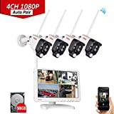 Tonton All-in-One 4CH 1080P HD NVR Wireless WiFi Surveillance Security Camera System with 10.1'' LCD Monitor and 4PCS 2MP Outdoor/indoor Bullet Cameras with PIR Sensor and Auto-Pari, 500GB Hard disk included