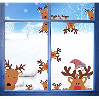 Shopping Mall Shop Windows Glass Wallpaper Stickers New Year Christmas Sun Snow Sled Window Hood Stickers Diamond