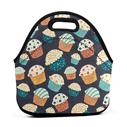 Portable Lunch Bag Tote Vintage Cartoon Cupcake Neoprene Lunch Handbag Food Zipper Storage Lunch Box For Men Women Kids
