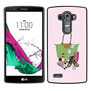 LECELL--Funda protectora / Cubierta / Piel For LG G4 -- Moda Señora Bolsa Pintalabios Pintura monedero --