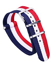 20mm Red/Blue/White Luxury Exquisite Men's One-Piece Nato style Nylon Perlon Watch Bands Straps
