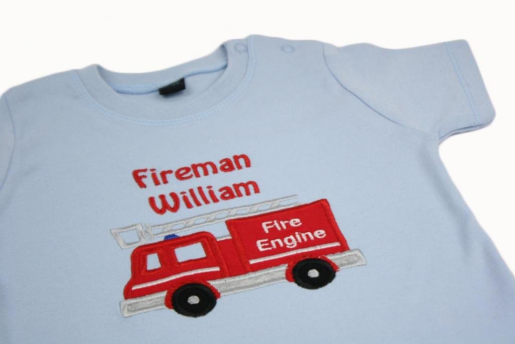 TinyGemz Personalised embroidered Boys/Toddler/Baby Applique Fire Engine T-Shirt Top Gift - 3-4 Years