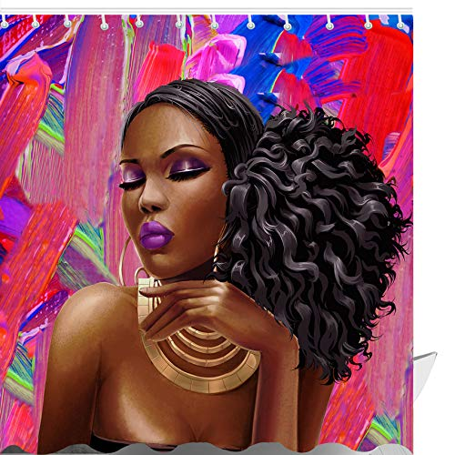 ABxinyoule African American Shower Curtain Afro Girl Black Hair Fashion Makeup Bathroom Curtains Purple - Purple Curtain Shower For Girls