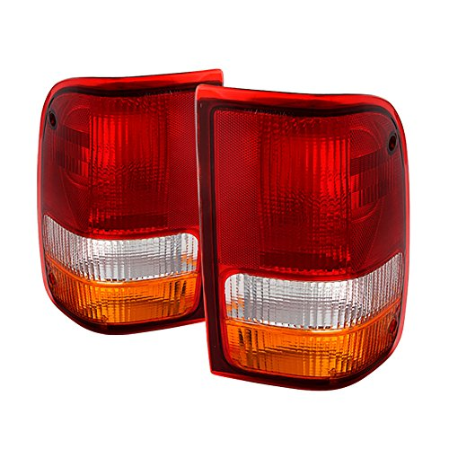 VIPMOTOZ For 1993-2000 Ford Ranger Tail Lights - [Factory Style] - Rosso Red Housing, Driver and Passenger ()