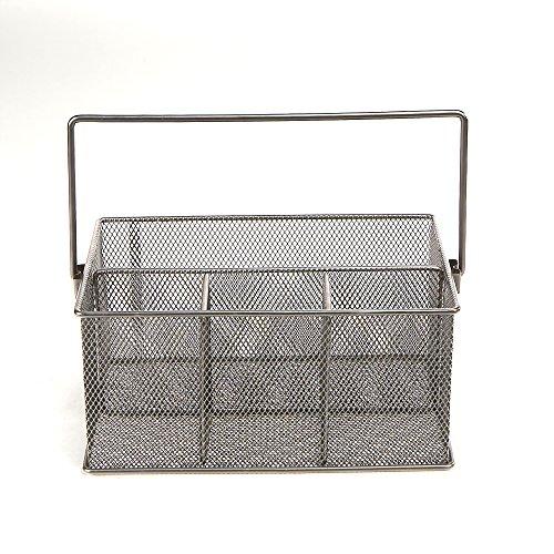 Mind Reader MESHBASKET-SIL Storage Basket Organizer, Utensil Holder, Forks, Spoons, Knives, Napkins, Perfect for Desk…