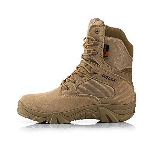Army Male Commando Combat Desert Winter Outdoor Hiking Boots Landing Tactical Military Shoes (Size 36 - 46) (8, sand) Composite Toe Athletic Side Zipper