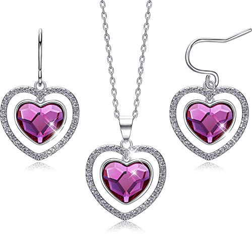 CDE Pink Heart Sterling Silver Jewelry Set Crystals from Swa