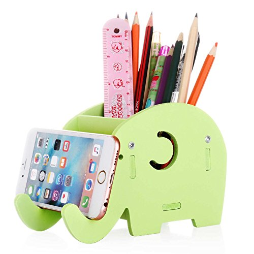 Cell Phone Stand, COOLBROS Wood Pencil Holder With Phone Holder Desk Organizer Desktop Pen Pencil Mobile Phone Bracket Stand Storage Pot Holder Container Stationery Box Organizer (Green) (Containers Mobile Storage)
